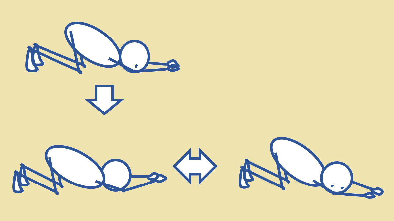 子犬の伸びのポーズの体側伸ばし