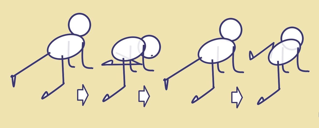 四つ這いでねじって体幹強化
